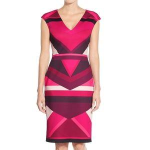 Vince Camuto Pink Colorblock Scuba Sheath Dress